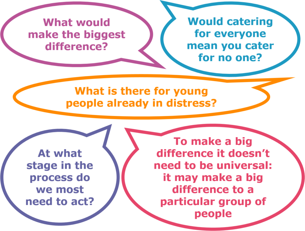 *What would make the biggest difference? *Would catering for everyone mean you cater for no one? *What is there for young people already in distress? *At what stage in the process do we most need to act? *To make a big difference it doesn't need to be universal: it may make a big difference to a particular group of people