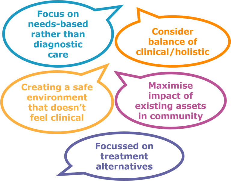 *Focus on needs-based rather than diagnotistic care *Consider balance of clinical/ holistic *Creating a safe environment that doesn't feel clinical *Maximise impact of existing assets in community *Focused on treatment alternatives