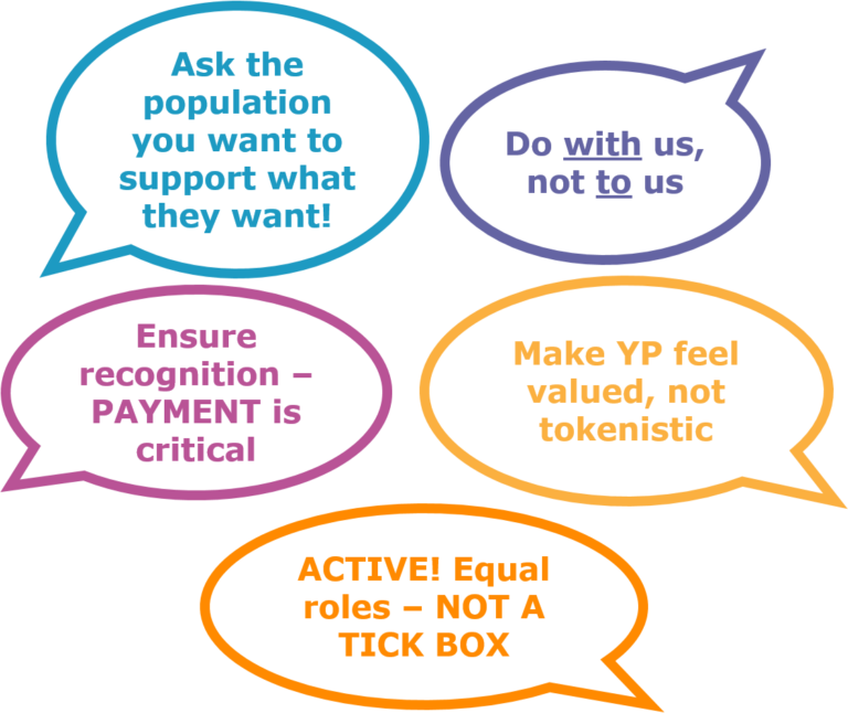 - Ask the populaton you want to support what they want *Do WITH us, not TO us *Ensure recognition - PAYMENT is critical *Make YP feel valued, not tokenistic *ACTIVE! Equal roles - NOT A TICK BOX