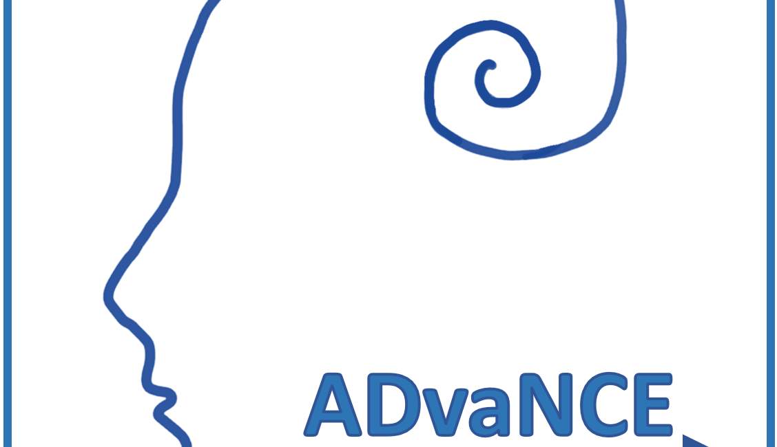 A face outline with a squiggle - the ADVANCE logo