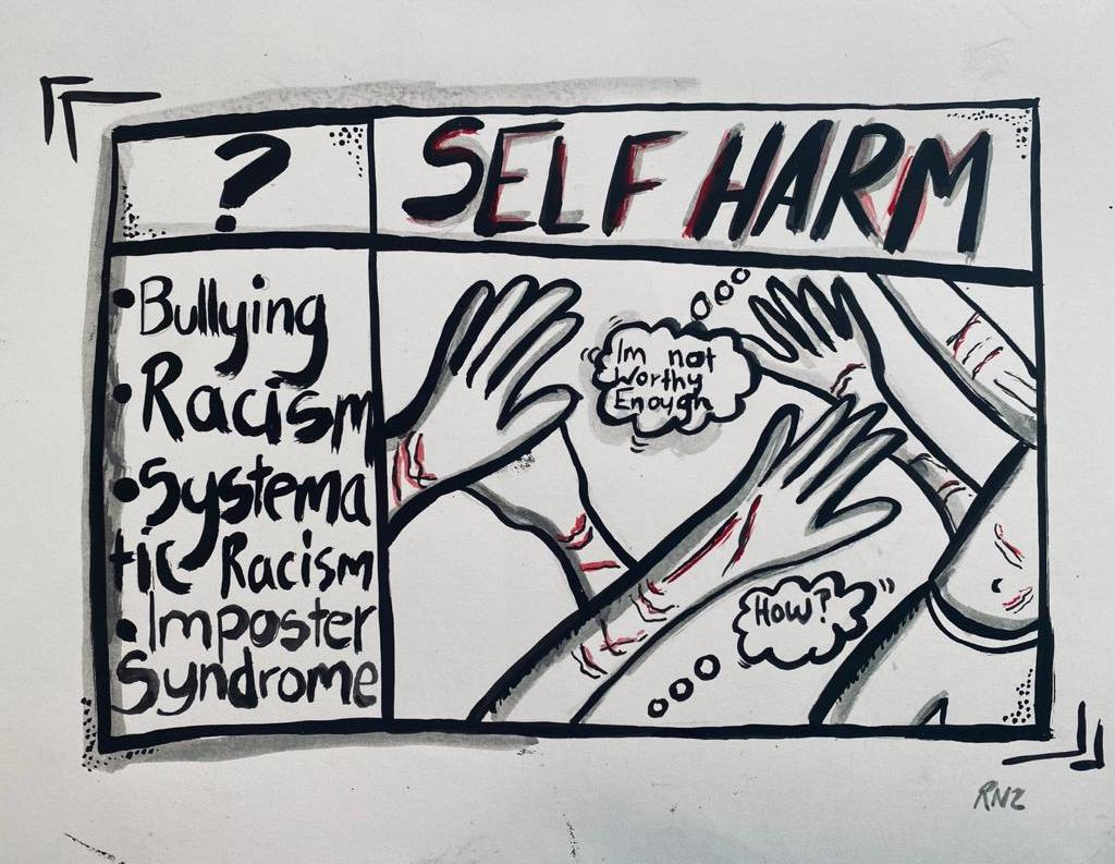 ? SELF HARM: *Bullying; *Racism; *Systematic Racism; *Imposter syndrome - I'm now worthy enough - How?
