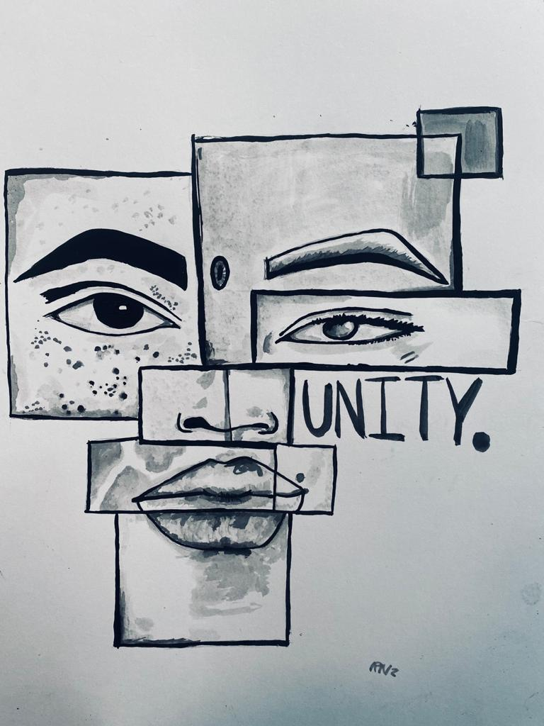 A series of mirror images show difference parts of different faces. Alongside them is the word UNITY